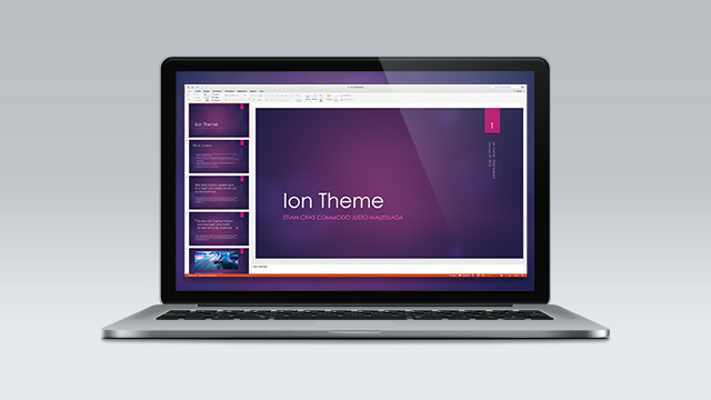In-app Preview of the Ion theme developed as a pilot for Office 2013